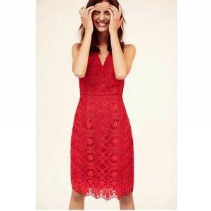 Anthropologie Maeve Red Lace Campari Column dress